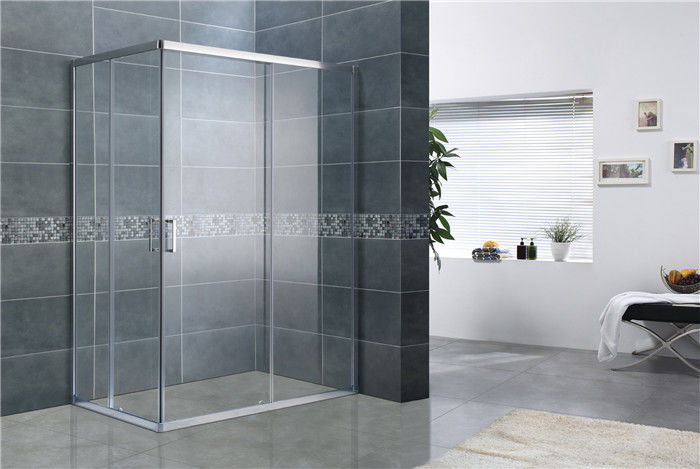 Bright Silver Rectangular Shower Enclosure 8MM Tempered Glass EN12150 For Home / Hotel