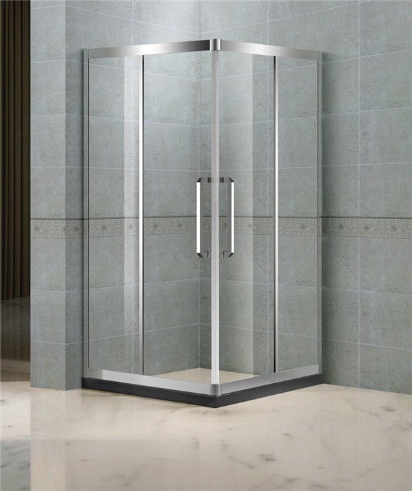 Corner Enter Sliding Shower Boxes With Two Middle Stainless Steel Profiles and 8 MM Tempered Glass