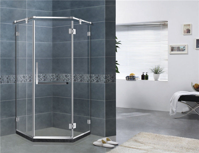 Mirror Color Diamond Glass Shower Enclosures Frameless With Stainless Steel Support Bar