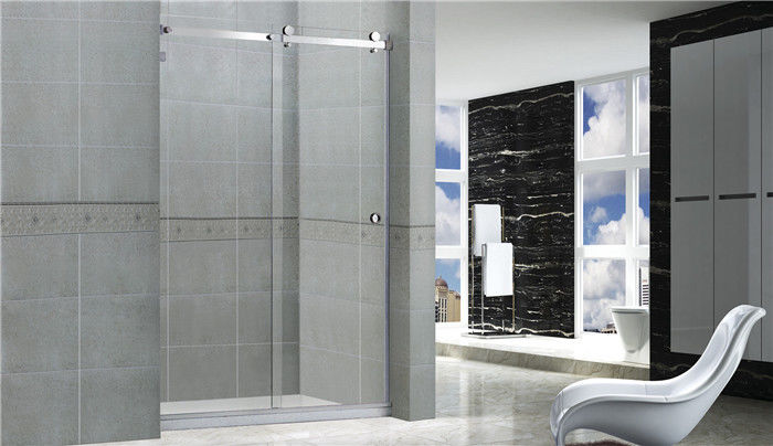 Professional Sliding Glass Shower Screens Frameless 8 / 10 MM Stainless Steel Accessories