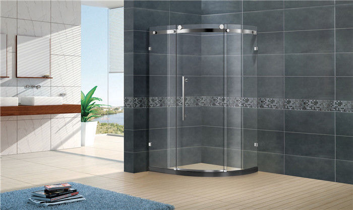 Customized Offset Quadrant Shower Screens Frameless Sliding With Stainless Steel Accessories