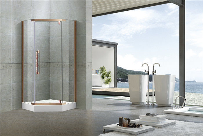 8MM Pivot Red Bronze Shower Cubicles 304 Stainless Steel Profiles For Apartment