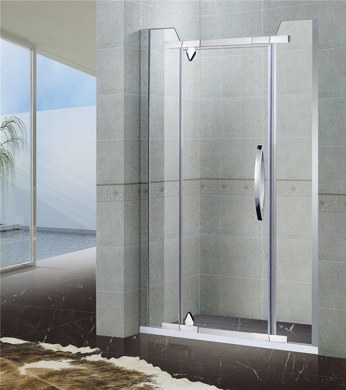Two Fixed Panel Stainless Steel Shower Screen Pivot Irregular Clear Tempered Glass
