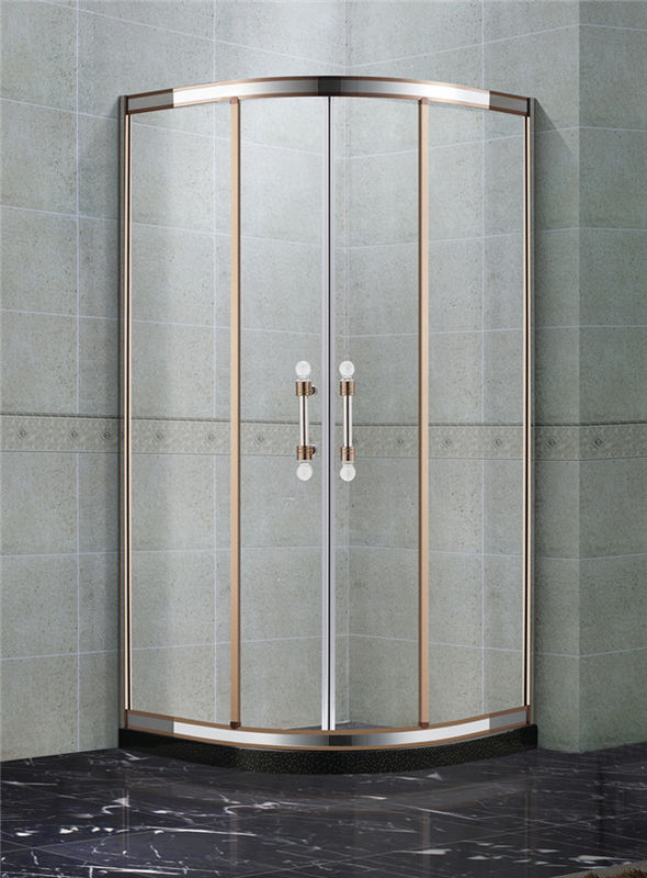 Rose Gold and Mirror Stainless Steel Quadrant Shower Enclosures With Two Center Pillar 8mm Glass Shower