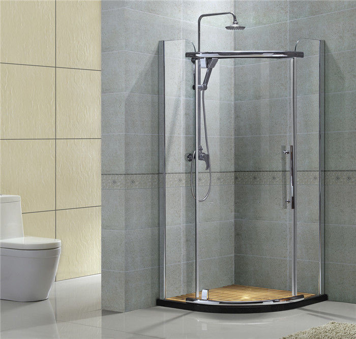Round Corner Stainless Pivot Shower Enclosures  8MM Clear Nano Tempered Glass For Apartment