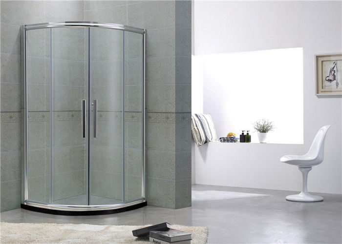 Bright Silver D Shaped Quadrant Shower Enclosure Aluminum Alloy Double Curved Glass