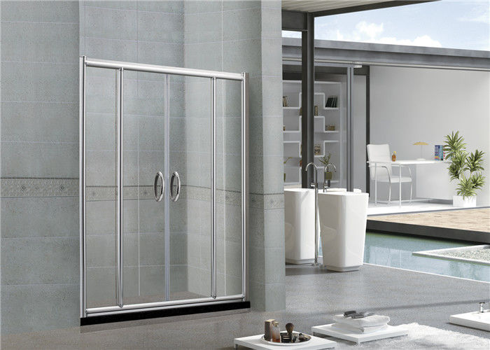 Self - Cleaning Screen Double Sliding Glass Shower Doors With Stainless Steel Handles for Home