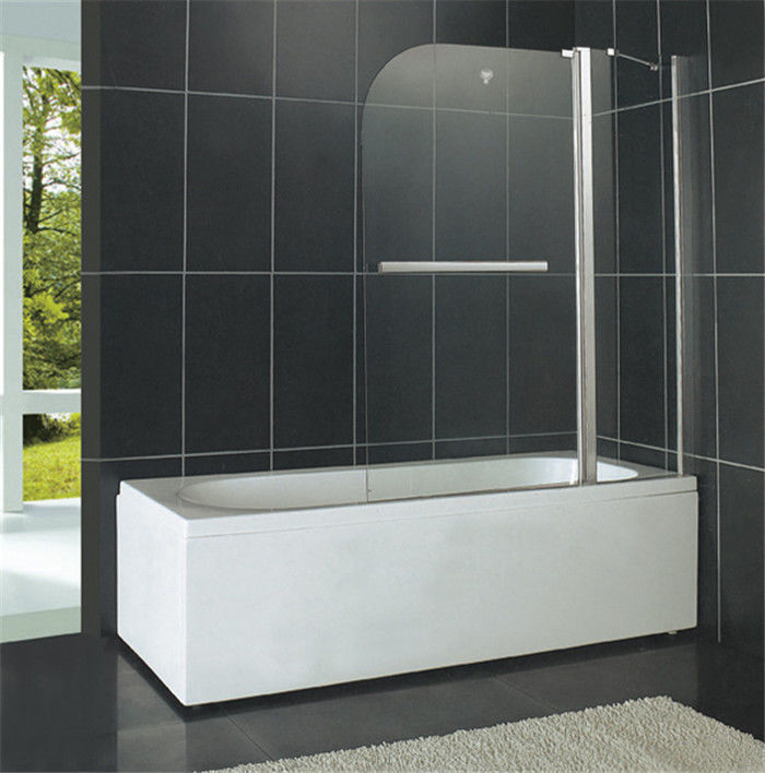 Shiny Silver Pivot Shower Doors 6MM Tempered Glass With One Fixed Glass for Bathtub