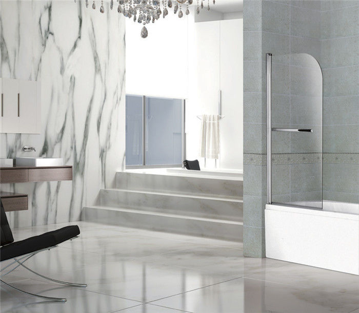 Bright Silver 6MM Adjustable Pivot Shower Door Tempered One Moving Easy Installation