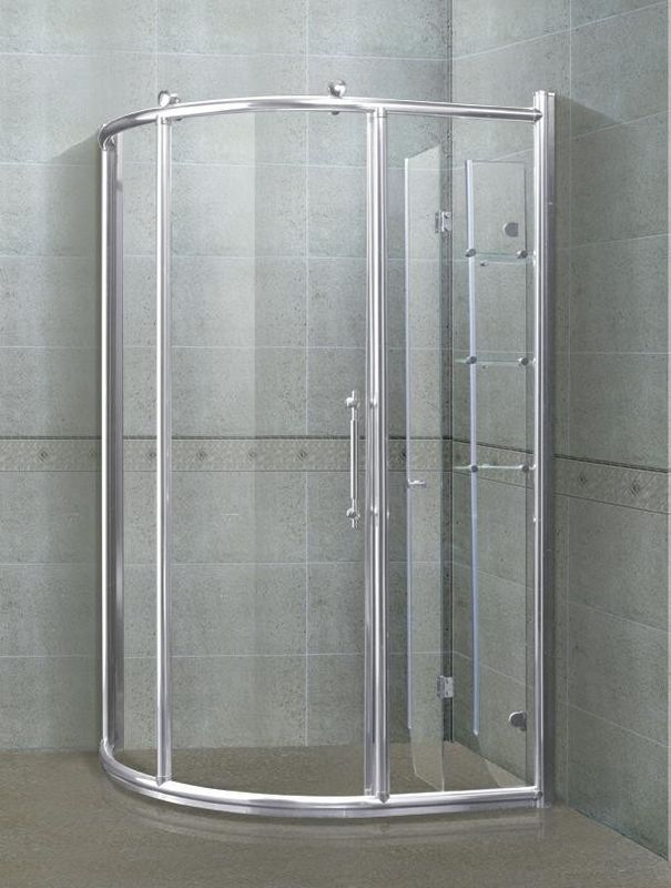 6/ 8 mm Sector Shower Stalls Bright Silver Aliminum Alloy Frames With Shower Shelf