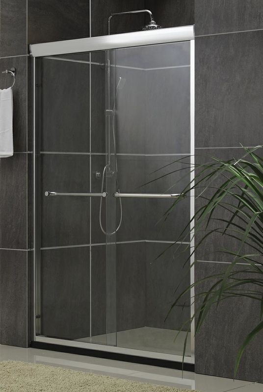 Inline Sliding Double Bath Shower Screen Aluminum Alloy Frameless Nano Tempered Glass