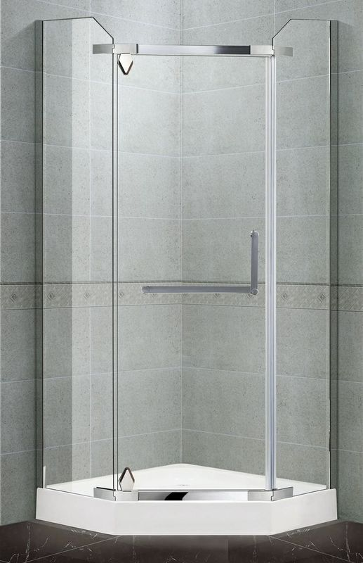 Diamond Pivot Mirror Finished Shower Cubicles 8 / 10 MM Tempered Glass for Home / Hotel