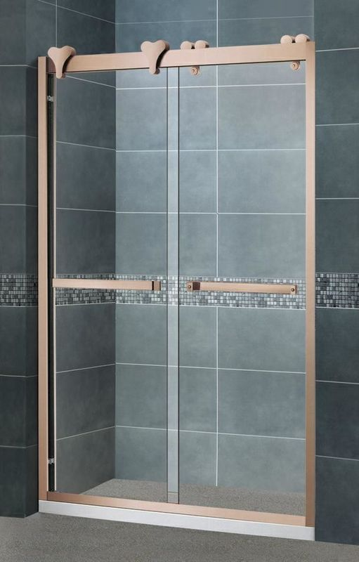 Clear / Forsted Tempered Glass Shower Doors Rose Golden 304 Stainless Steel Profiles and Outside Rollers